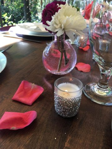 Assorted glassware and votives