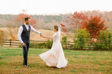 November bride and groom at Storybrook Farm by JoPhoto