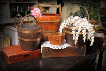 Rustic crates and buckets