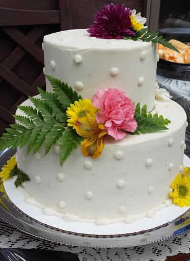 Storybrook Farm dots wedding cake by Petite Sweets