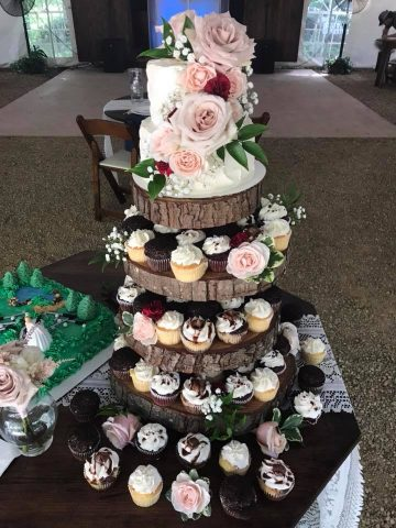 Petite Sweets wedding cake and cupcakes Storybrook Farm