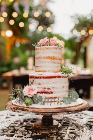 Storybrook Farm, Petite Sweets semi naked wedding cake by JoPhoto